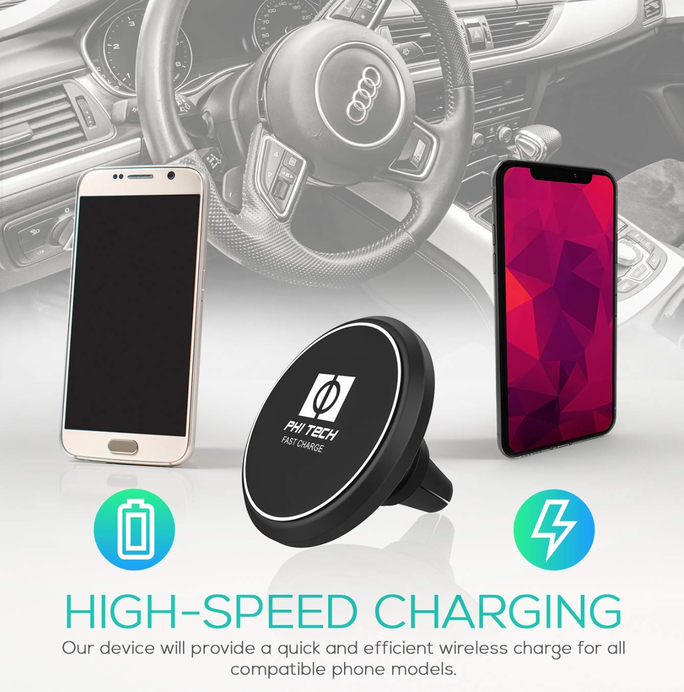 Fast Magnetic Wireless Car Charger Mount and Holder//Qi Enabled//Air-Vent Accessible for Iphone XS Max//XS//XR//X//8//8 Plus Samsung Galaxy S8//S7//S7 Edge//Note 8 Phi Tech 4351655144