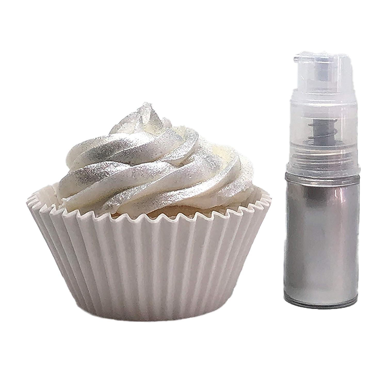 Edible luster dust Spray, Sparkling Dust Push Pump dispenser 4 gram for cake decoration,Food grade Paint food (Silver)