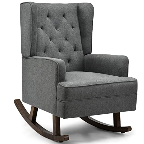 Awesome Amazon Com Tufted Rocking Chair Wingback Lounge Leisure Arm Caraccident5 Cool Chair Designs And Ideas Caraccident5Info