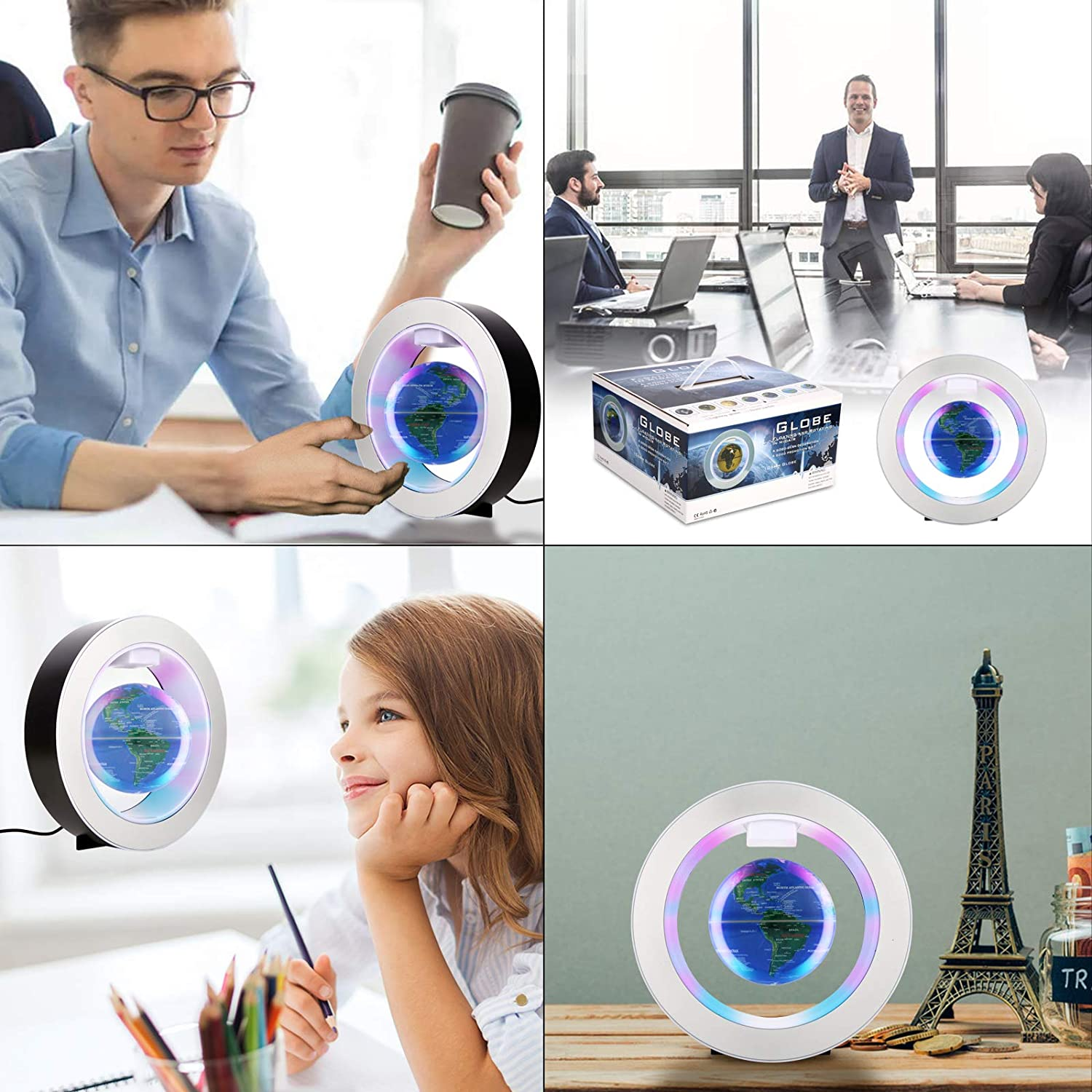 Gresus 4 Inch Auto-Rotate Magnetic Levitation Floating World Map Globe with Round Shape Base Blue Great Fathers Students Teacher Business Boyfriend Birthday Gift for Desk Decoration