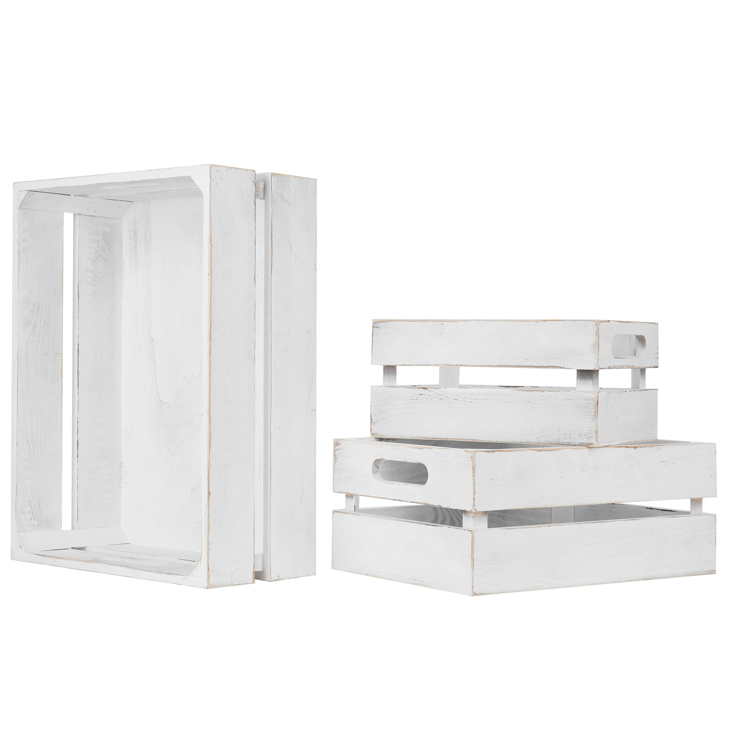 MyGift Set of 3 Vintage White Wood Nesting Storage Crates by MyGift