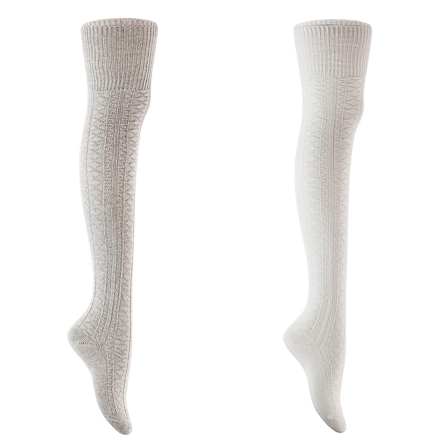 Cream+grey AATMart Women's 2 Pairs Fashion KneeHigh Cotton Socks M1025 Size 59