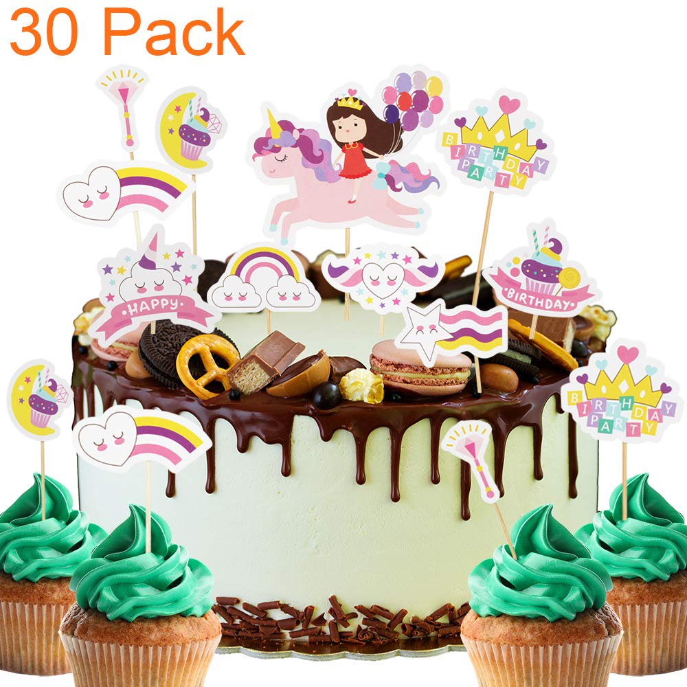 Strange 30 Pack Rainbow Unicorn Baby Girl Magical Themed Cupcake Toppers Personalised Birthday Cards Veneteletsinfo