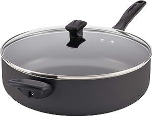 Farberware Dishwasher Safe Nonstick Jumbo Cooker/Saute Pan with Helper Handle - 6 Quart, Black