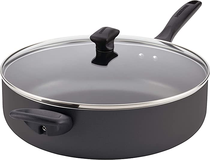 Farberware Dishwasher Safe Nonstick Jumbo Cooker/Saute Pan with Helper Handle - 6 Quart, Black