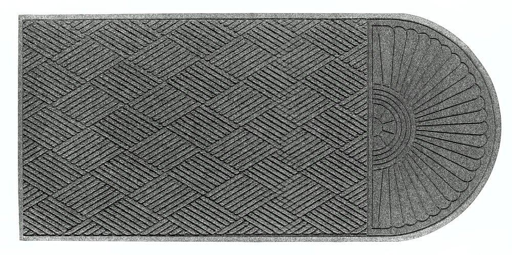 M+A Matting 22248 Waterhog Eco Grand Premier PET Polyester Fiber Single End Entrance Indoor/Outdoor Floor Mat, SBR Rubber Backing, 5-1/2' Length x 3' Width, 3/8'' Thick, Grey Ash