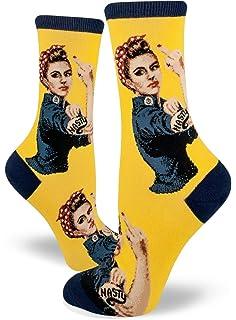 95b2e675841 ModSocks Women s Nasty Rosie The Riveter Crew Socks (Fits Most Women Shoe  Size 6-