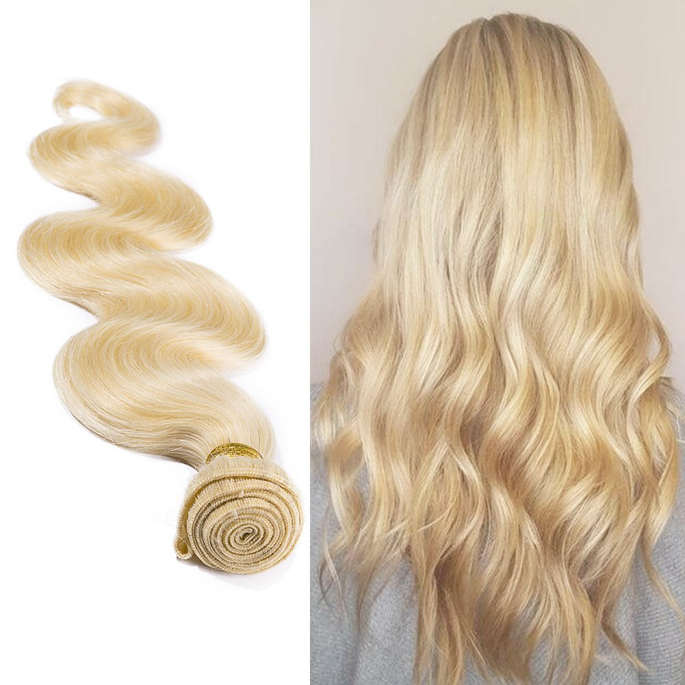 613 Blonde Hair Bundles Weft Unprocessed Brazilian Virgin Human Hair Weave Grade 7A Quality Brazilian Hair Extensions 10-24inch Weave Weft Thick Body Wave 14'' / 14 inch #613 Bleach Blonde 100g by MY-LADY