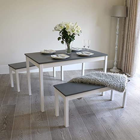 Admirable Wido White Grey Pine Wood Dining Set Table Bench Set Alphanode Cool Chair Designs And Ideas Alphanodeonline