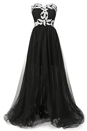 ISABUFEI Girls High Low Prom Dresses Black US26