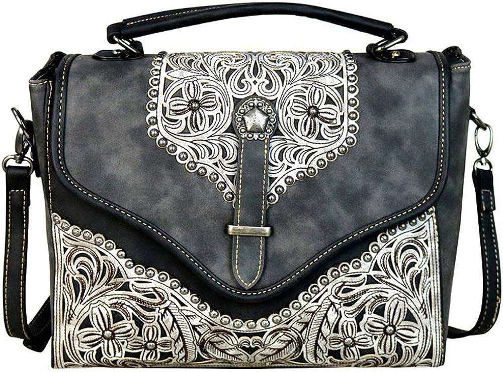 Montana West Handbags Western Floral Applique Satchel//Cross Body Purses MW604-8662