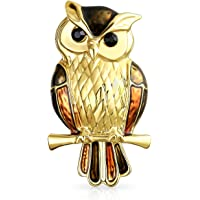 Lucky Large Fashion Animal Golden Brown Enamel Wise Bird On Branch Scarf Owl Brooch Pin for Women Gold Plated