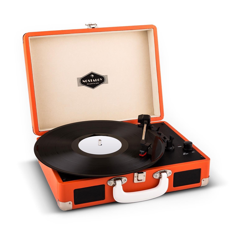 auna Peggy Sue Red tocadiscos vinilo retro LP USB (altavoces estéreo integrados, salida RCA, digitalizador LPs, diseño maleta vintage portátil, color naranja)