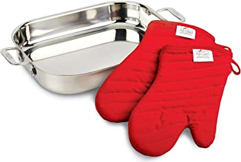 All-Clad 00830 Stainless-Steel Lasagna Pan with 2 Oven Mitts