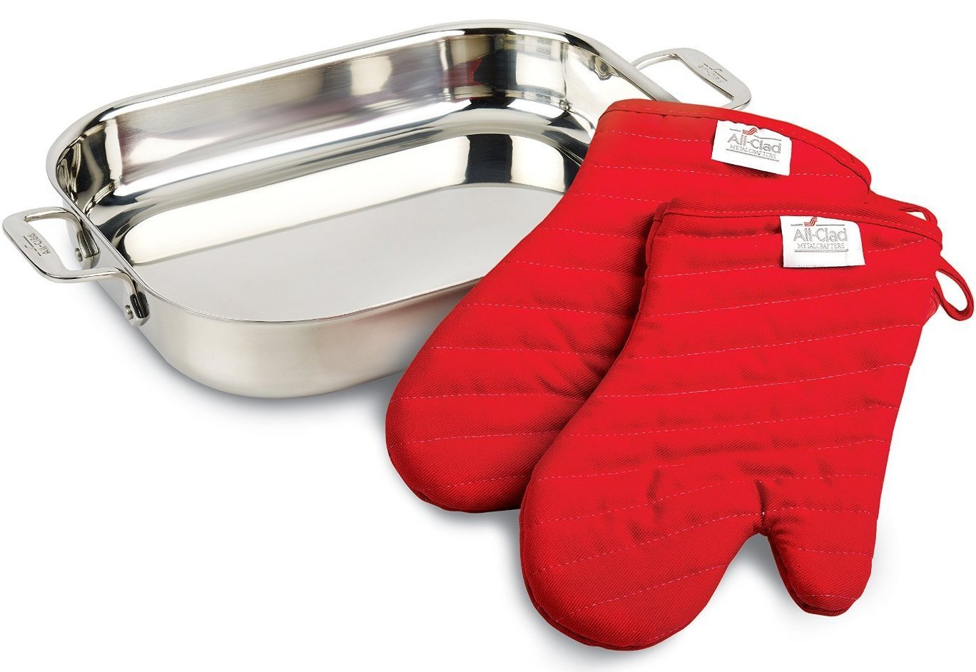 All-Clad 00830 Stainless-Steel Lasagna Pan with 2 Oven Mitts/Cookware, Silver
