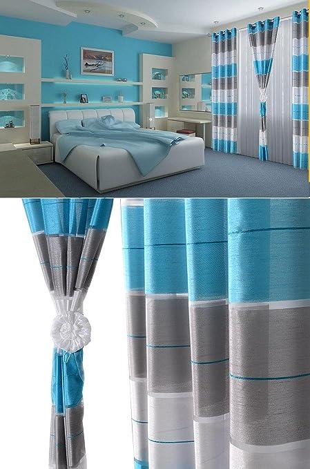 Aembe ösen Vorhang Halbtransparent Set Top Design Modern 2 Vorhänge In 1 Pack Blau Grau Weiß Höchste Qualität