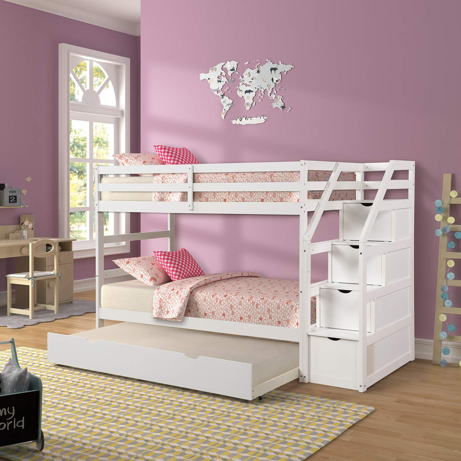 Twin Over Twin Bunk Bed with Trundle and Storage Drawers, WeYoung Pine Wood Sturdy Twin Twin Bunk Bed Frame in The Steps White