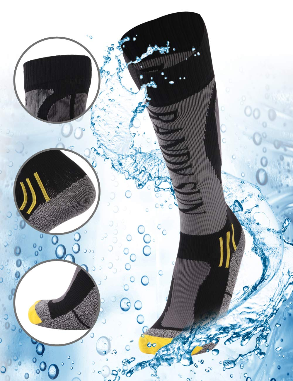 100% Waterproof Hiking Socks, Rain Socks, [SGS Certified]RANDY SUN Men's Cold-weather Comfort Socks Grey&Black Medium by RANDY SUN