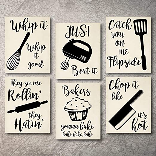 Amazon Com Home Decor Funny Gift 6 Kitchen Wall Art Prints