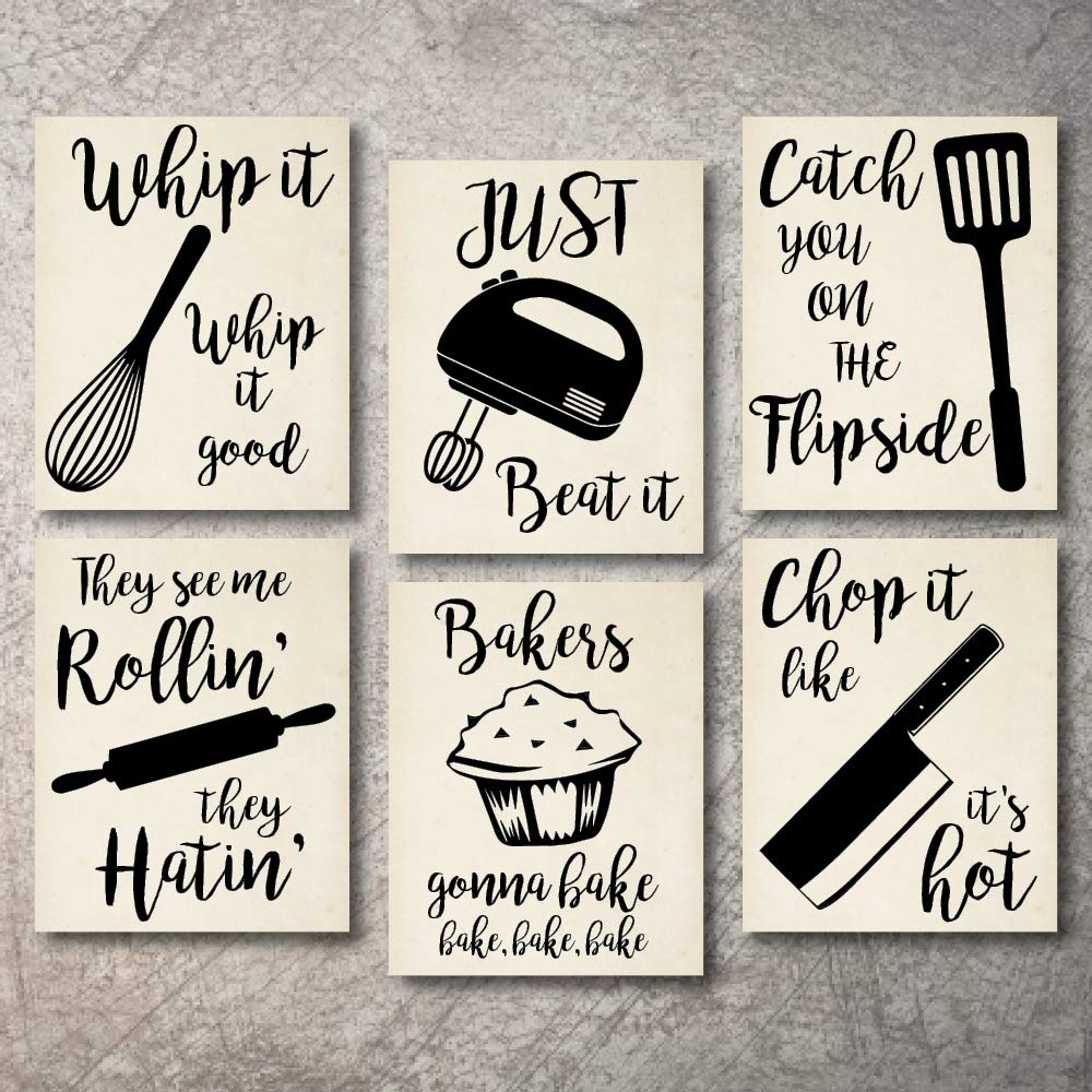 "Home Decor Funny Gift 6 Kitchen Wall Art Prints Kitchenware with Sayings 8""x10"" Unframed Farmhouse Home Office organization Signs Bar Accessories Decorations sets white house Deco Kitchen Decor"