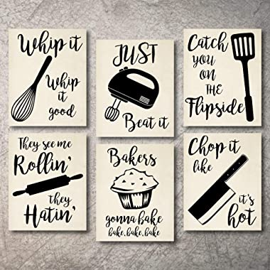 Home Decor Funny Gift 6 Kitchen Wall Art Prints Kitchenware with Sayings Unframed Farmhouse Home Office organization Signs Bar Accessories Decorations sets white house Deco Kitchen Decor (8 x10 )