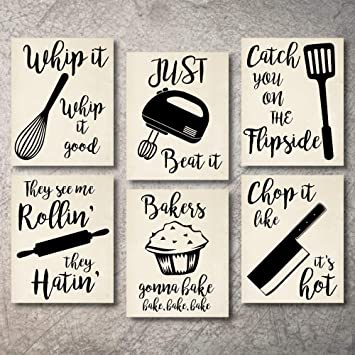 Home Decor Funny Gift 6 Kitchen Wall Art Prints Kitchenware with Sayings  Unframed Farmhouse Home Office organization Signs Bar Accessories  Decorations ...