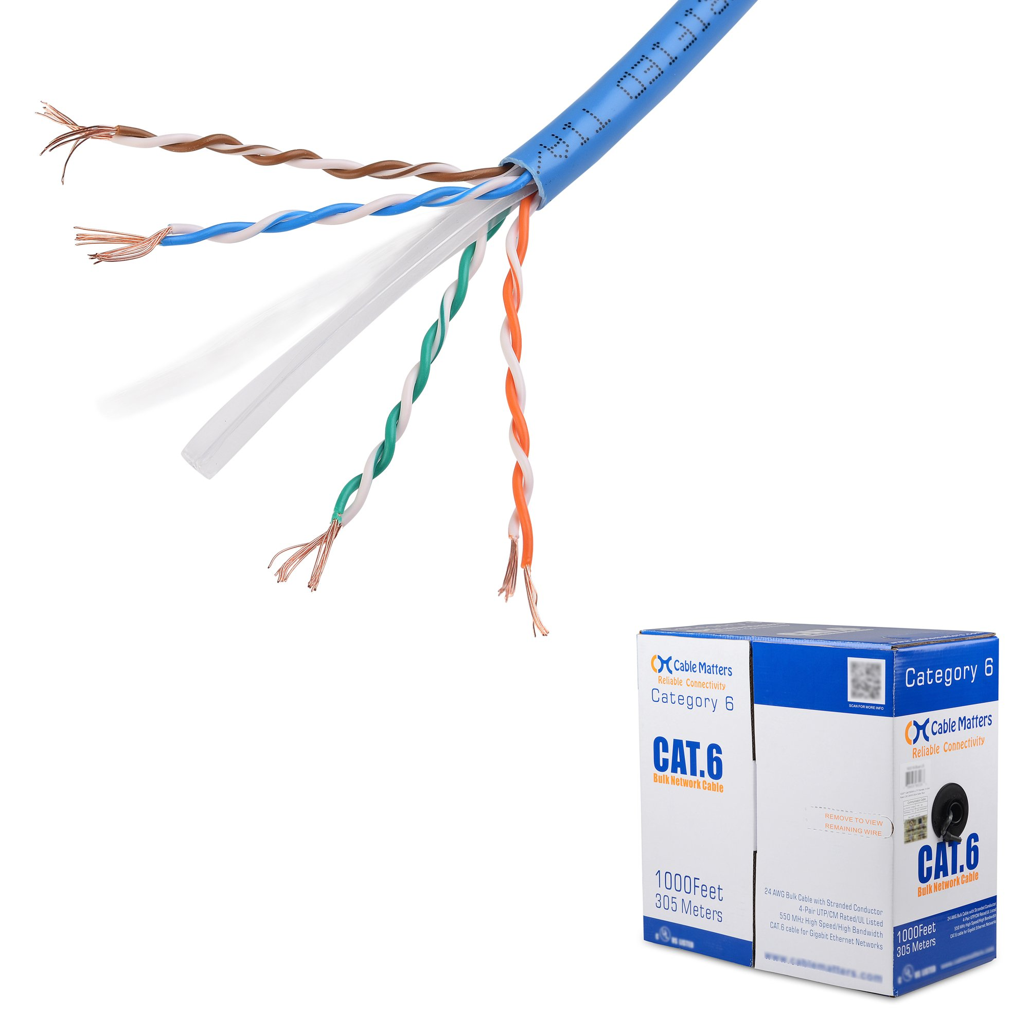 [UL Listed] Cable Matters In-Wall Rated (CM) Cat6 Stranded Bulk Ethernet Cable in Blue 1000 Feet by Cable Matters