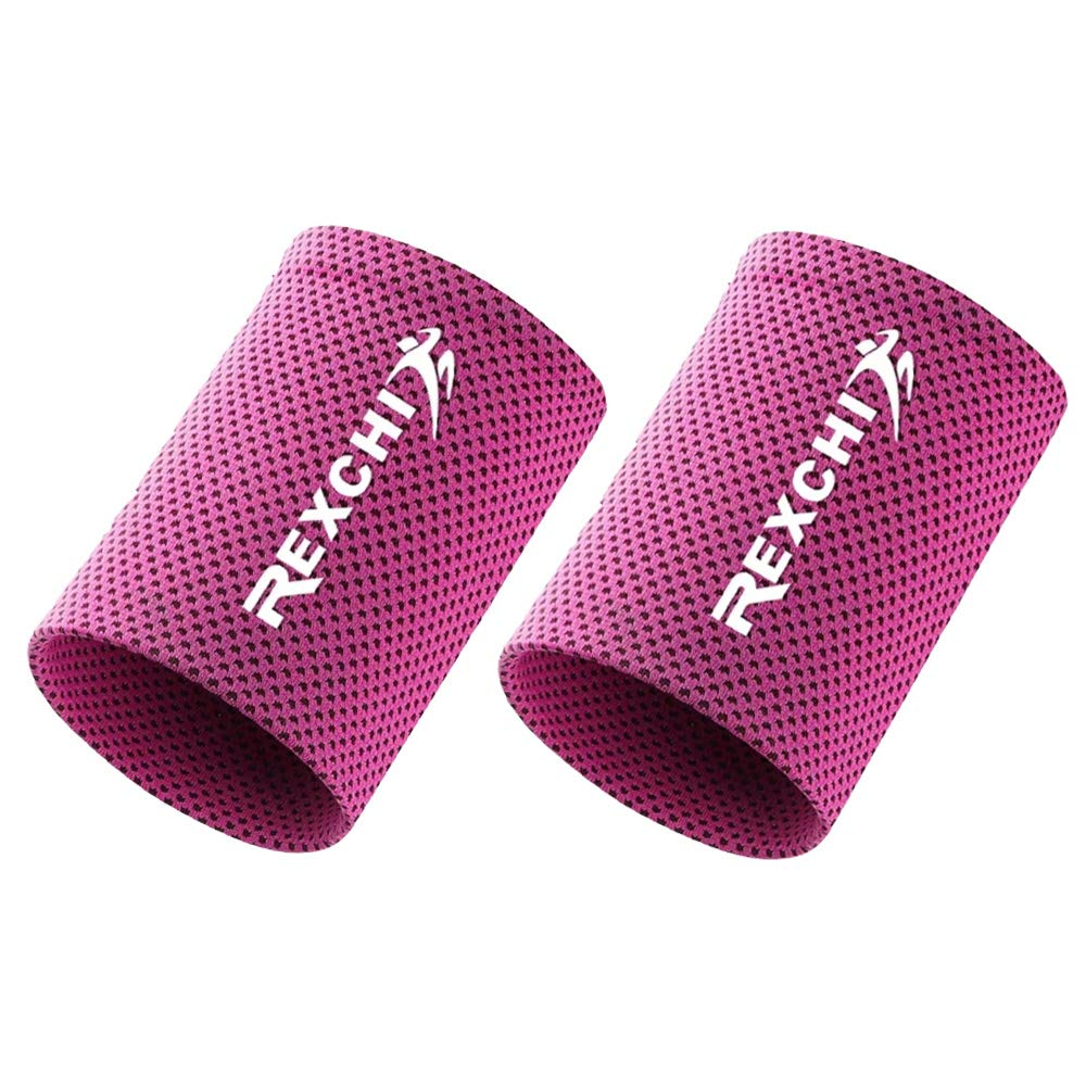 Cooling Wristbands, Fitness Sports Sweat Absorbent Polyester Wristband Breathable Ice Sweatband for Adults Men Women Yoga Tennis Basketball Cycling Running Gym (2 pcs) (Rose Red, S)