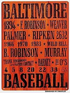 Unoopler TIN Sign Baltimore Baseball Orioles Metal Decor Wall Store Card Shop Bar 12