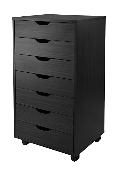 Winsome Halifax Cabinet For Closet/Office, 7 Drawers, Black