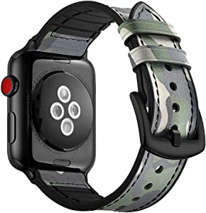 Aottom Compatible for Apple Watch Band 44mm 42mm Leather Silicone Hybrid Vintage Sweatproof Breathable Bracelet Wristband Replacement Band for 44mm 42mm iWatch Series SE/6/5/4/3/2/1, Camouflage Green