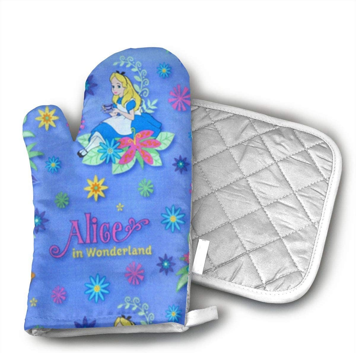 Alice in Wonderland Oven Mitts Heat Resistant Kitchen Gloves and Potholders BBQ Gloves-Cotton Pot Holders Non Slip Oven Gloves for Kitchen