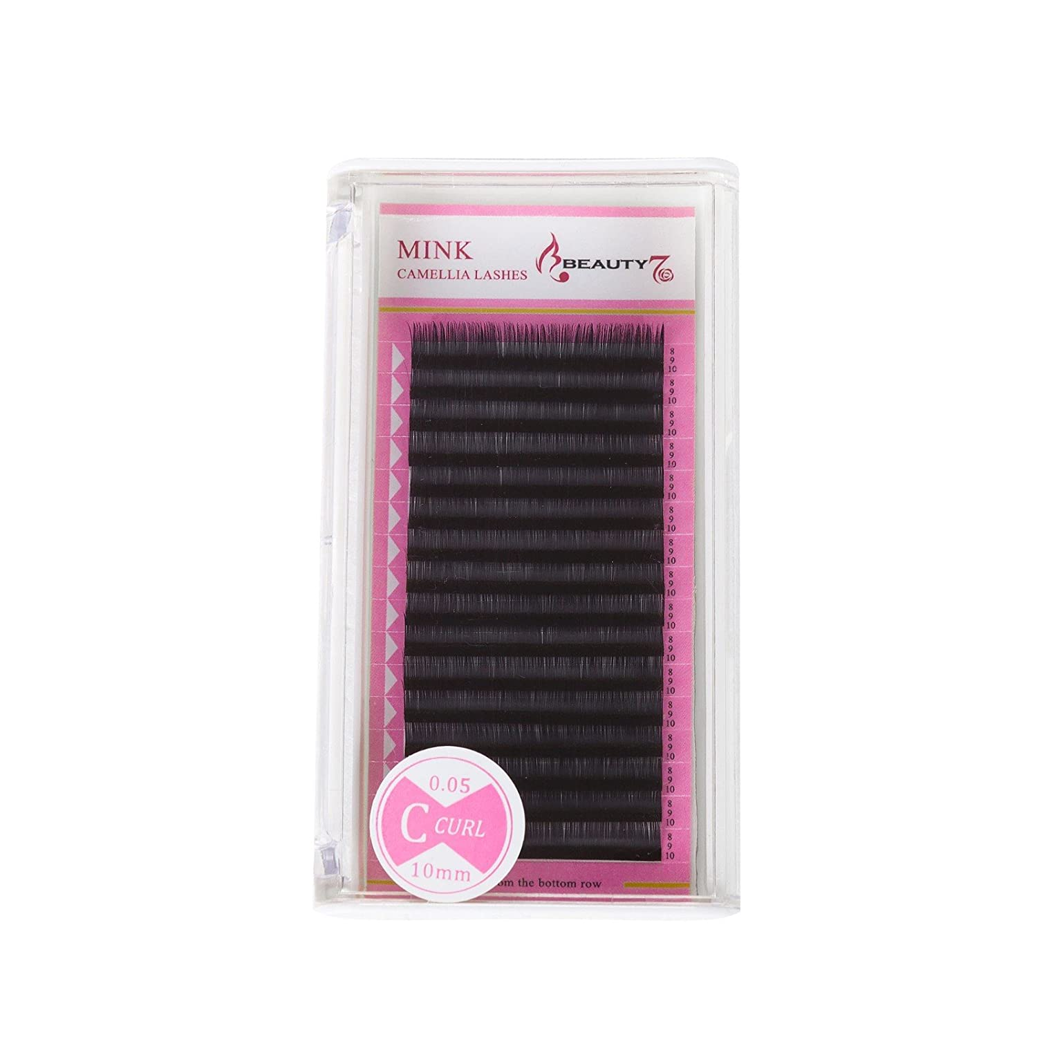 73cb045c3f6 Amazon.com : Beauty7 Natural Camellia Blossom Fanning Curl D Volume Lashes  Matte Synthetic MINK Individual Eyelash Extensions 0.05mm Thickness  10/11/12mm ...