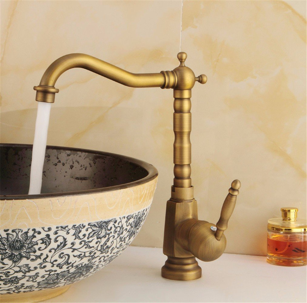 B Copper  Antique Large Curved hot and Cold Water Ceramic Valve Single Hole Single Handle Bathroom Basin Faucet B