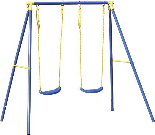 Biacchi Gianfranco A1527002 columpio para parques infantiles - Columpios para parques infantiles (Juego de columpio para parque infantil, 2 Asiento(s), 3 año(s), Azul, Amarillo, Asiento plano, De plástico): Amazon.es: Jardín