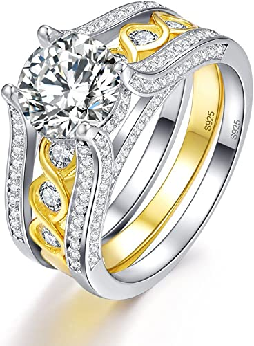 Women Fashion Wedding Ring Round Sapphire Yellow Gold Plated Finger Band