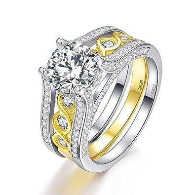 309db2036 BONLAVIE Vintage Bridal Set Solitaire Round Cut White Cz 925 Sterling  Silver Wedding Engagement Ring Set