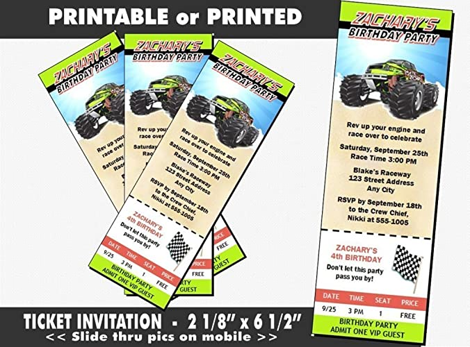 Amazon Monster Truck Birthday Party Ticket Invitation