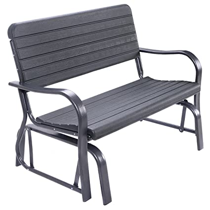 Giantex Swing Glider Chair Patio Steel Porch Loveseat Bench For 2 Person Rocking