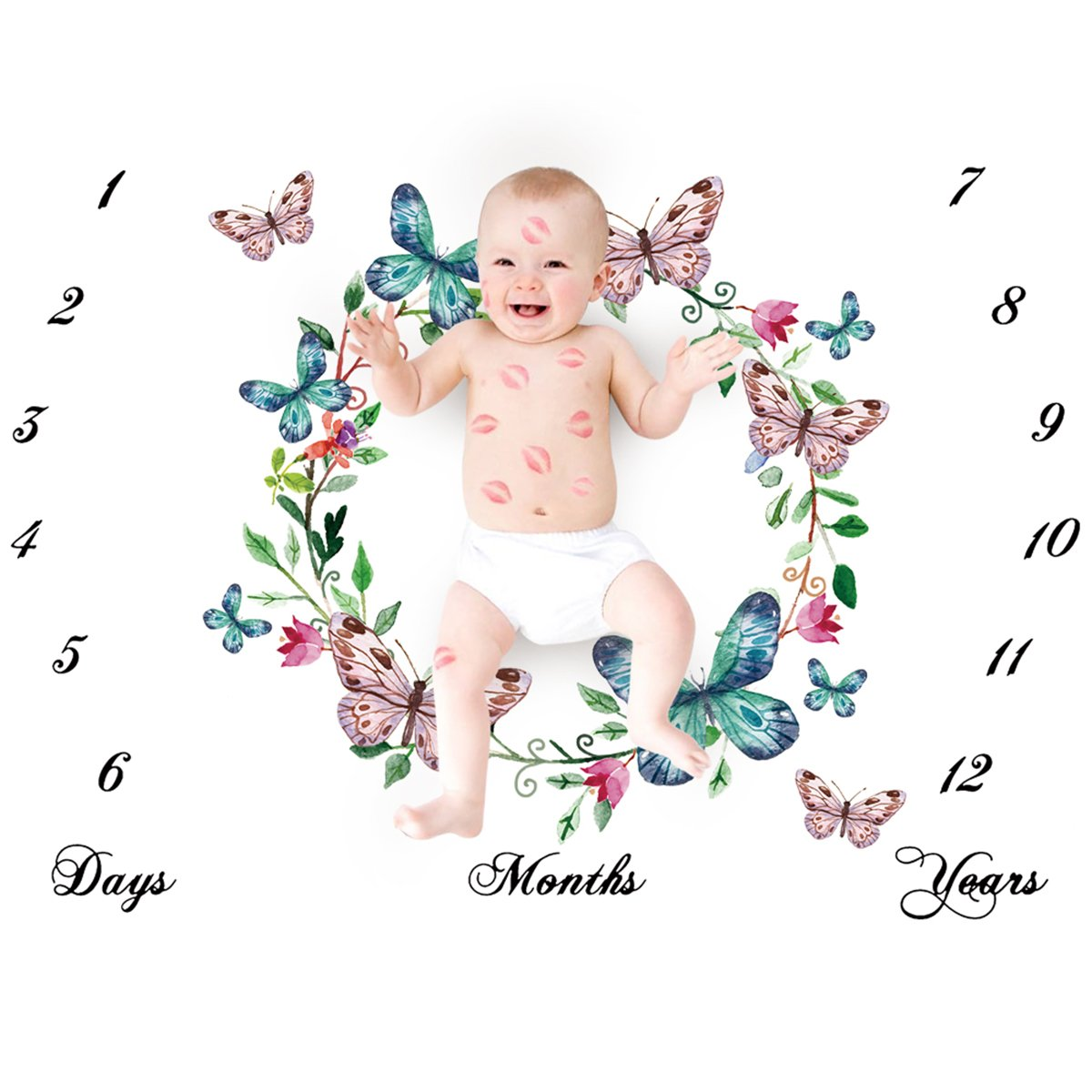 Baby Monthly Milestone Blanket, Newborn Infant Baby Boy Girl Monthly Milestone Blanket Calendar for Photopraghy Photo Props Backdrop Background Cloth (Butterfly) Camidy