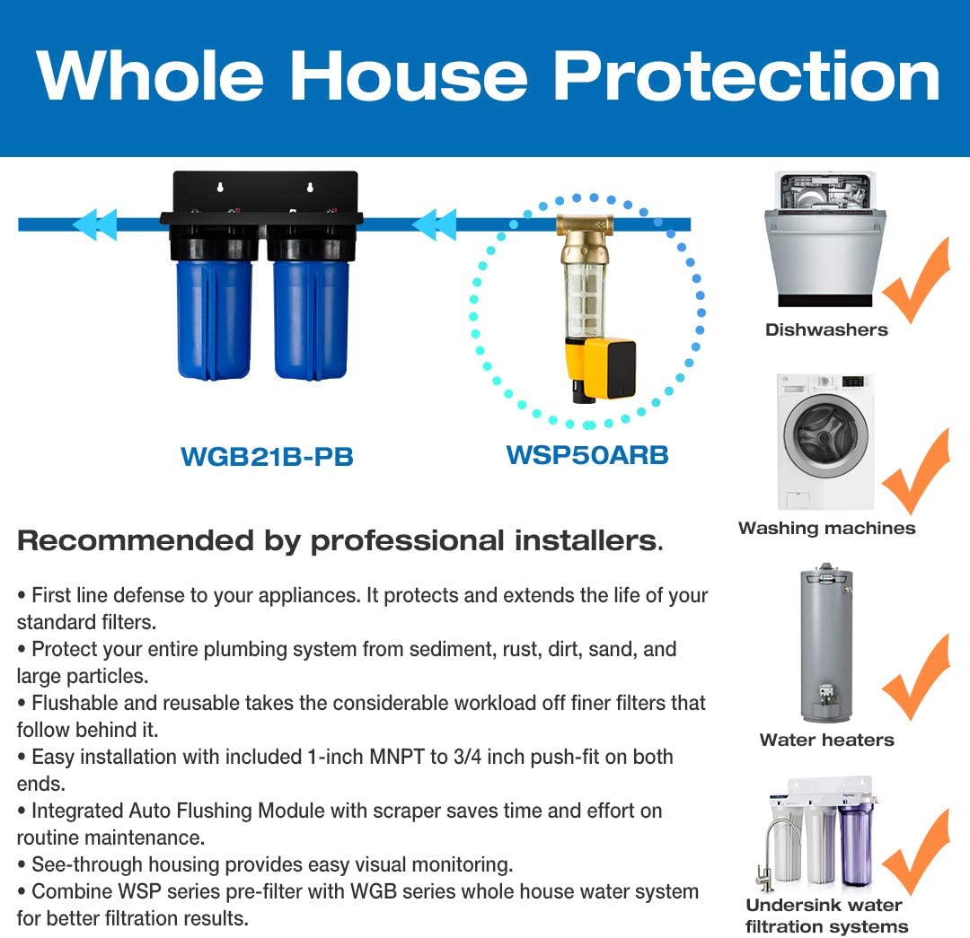 """1 Ports/… iSpring WGB21BM 2-Stage Whole House Water Filtration System with 10/"""" x 4.5/"""" Big Blue Carbon Block and Iron /& Manganese Reducing Filters"""