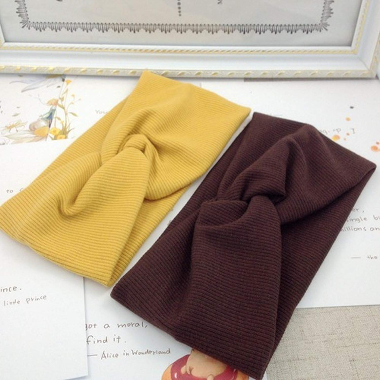 1PC Fashion sport headband New Turban Solid Headbands Girls Makeup Fabric Elastic Hair Band Twisted Knotted Hair Accessories,caramel colour,China