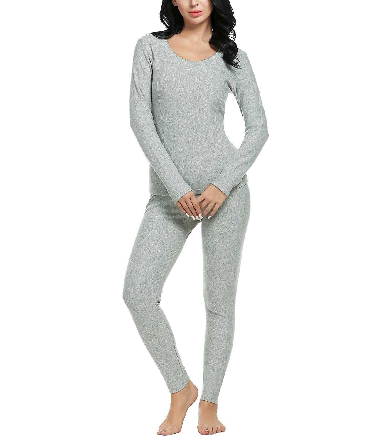 Imposes Women Thermal Underwear Ultra Soft Long Sleeve Top and Bottom Pajama Set (S-3XL)