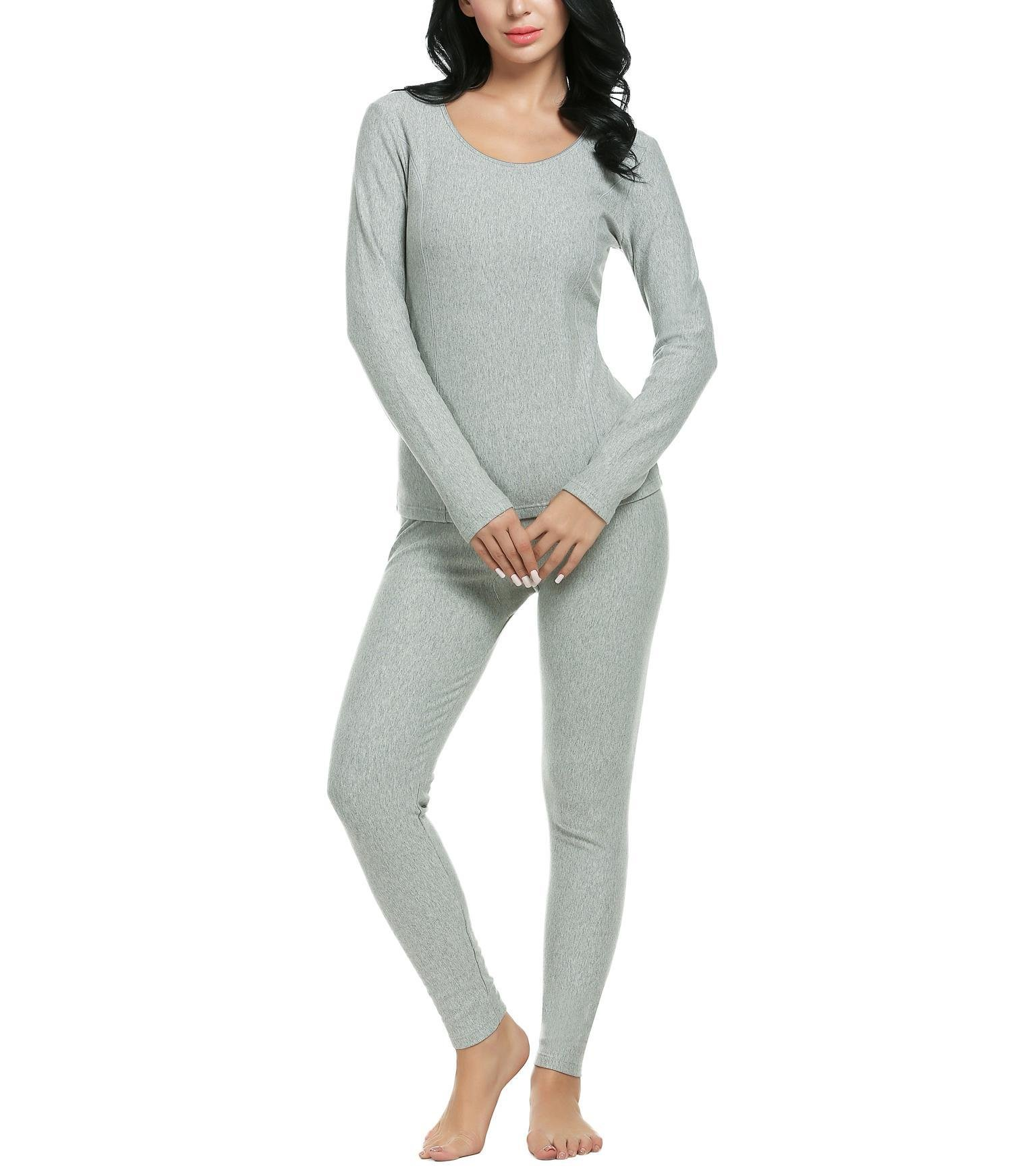 Women 2 Piece Long Sleeve Pajama Set Solid Cotton Thermal Underwear Top and Bottom (Gray S