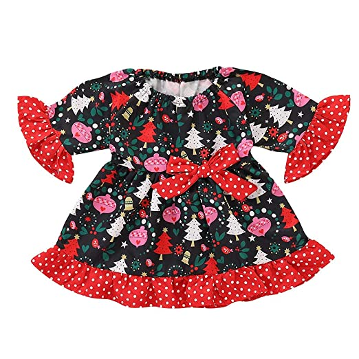 e743e17b1483 Amazon.com  KONFA Toddler Baby Girls Christmas Three Print Dresses ...