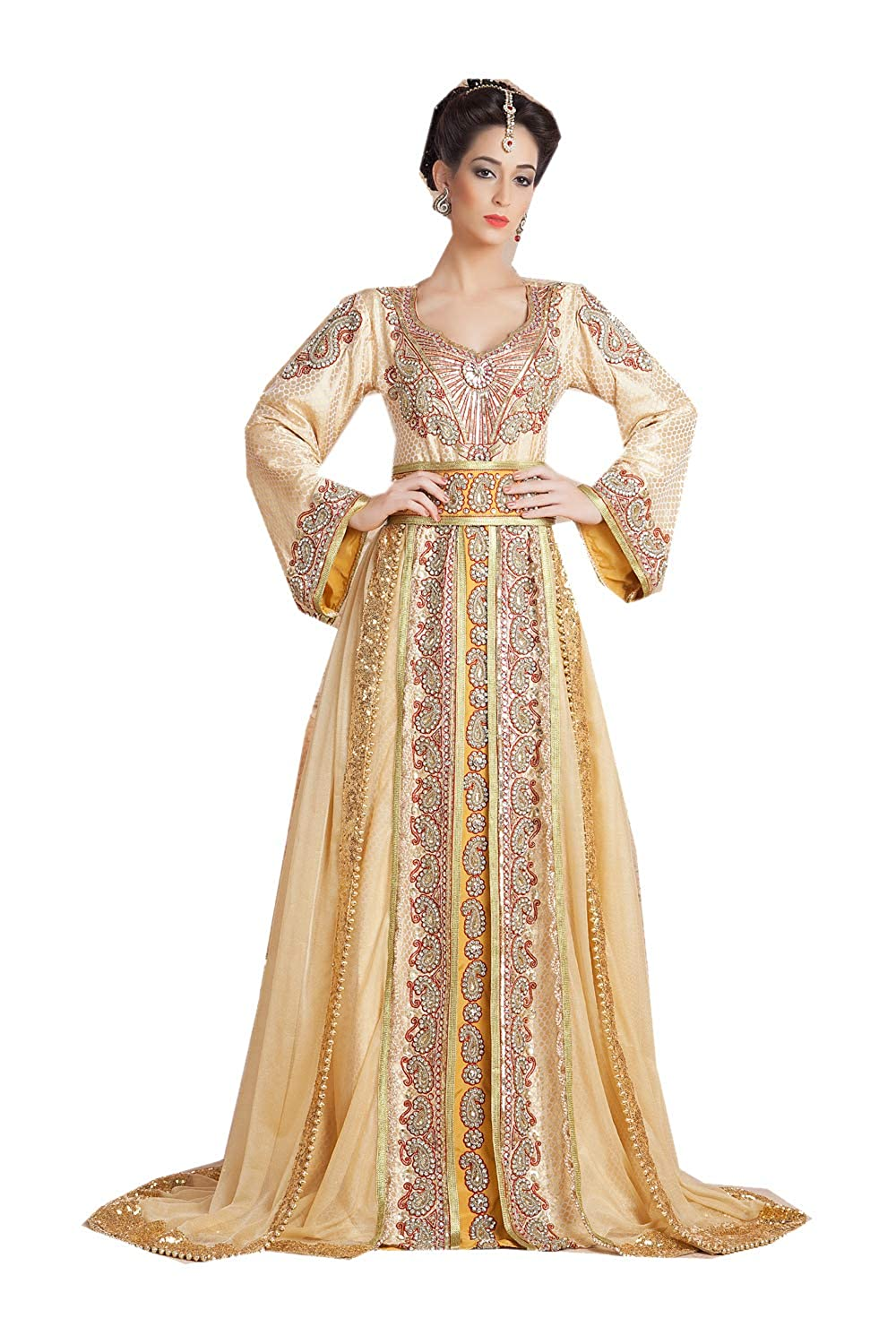 Bisckit, gold 4 Da Facioun Indian Women Designer Latest Fancy Party Wear Heavy Kaftan