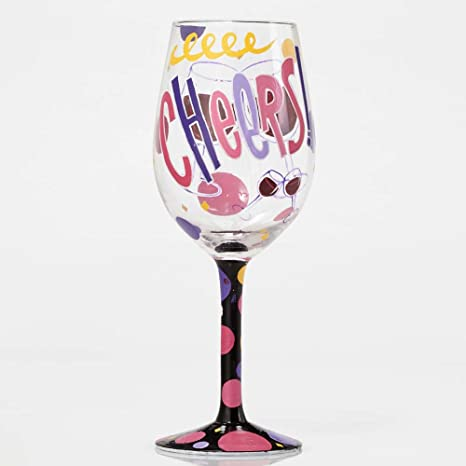 "f879f29700c6 Image Unavailable. Image not available for. Color  Designs by Lolita  ""Cheers"" Hand-painted Artisan Wine Glass"