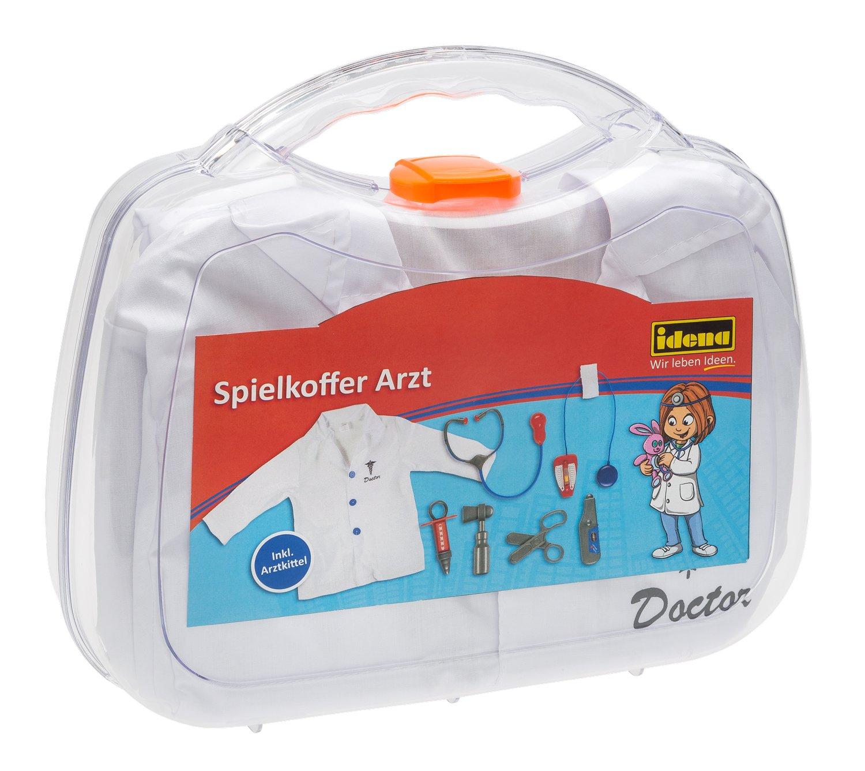 Idena 30120 - Spielkoffer Arzt mit Kittel und Zubehör, ca. 30 x 27 x 8 cm Iden Berlin