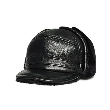 LETHMIK Aviator Hat Winter Trapper Hunting Hat Russian Earflap Leather  Bomber Cap Black-L 77e5e9f526e