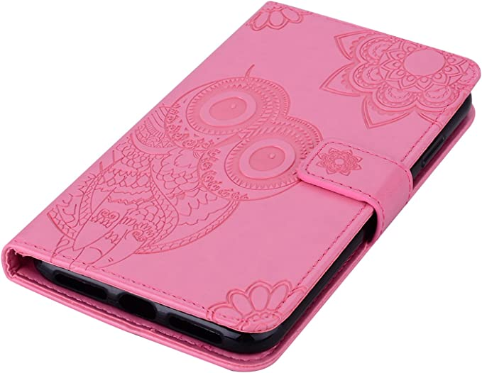 Herbests Compatible with Samsung Galaxy A9 2018 Case Wallet Leather Case Embossed Mandala Flower Pattern Design PU Leather Flip Cover with Wrist Strap Kickstand Card Slots Holder,Rose Gold